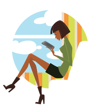 fashionable reading, image of young woman looking in pad