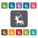 Sagitarrius Icon. Zodiac Symbol Sign Icons Set. Rectangle Colour
