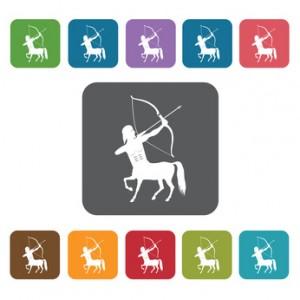 Sagitarrius Icon. Zodiac Symbol Sign Icons Set. Rectangle Colour