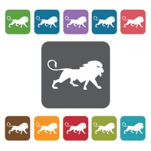 Leo Icon. Zodiac Symbol Sign Icons Set. Rectangle Colourful 12 B