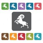 Aries Icon. Zodiac Symbol Sign Icons Set. Rectangle Colourful 12