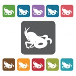 Capricorn Icon. Zodiac Symbol Sign Icons Set. Rectangle Colourfu