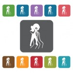 Aquarius Icon. Zodiac Symbol Sign Icons Set. Rectangle Colourful