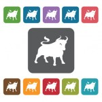 Year Of The Cow Icon. Zodiac Symbol Sign Icons Set. Rectangle Co